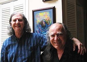 Mark Roland and Jack Foley with Mark's painting, Eugene, OR, 09-13
